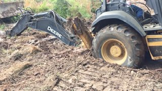 getlinkyoutube.com-How To: Unstick a Stuck Backhoe!  Muddy and Wet....