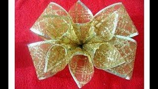getlinkyoutube.com-Moños navideños con flores en cintas de organza