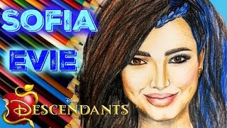 getlinkyoutube.com-SOFIA CARSON and EVIE from DISNEY DESCENDANTS Speed Drawing