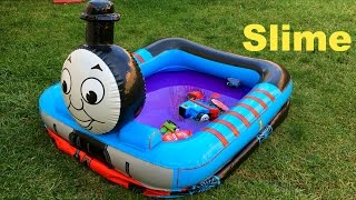 getlinkyoutube.com-Thomas and Friends Toy Trains in Swimming Pool Disney Cars Toys McQueen Egg Surprise