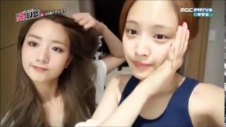 getlinkyoutube.com-Apink Bare Face and Eunji hair drying cut @ Apink Showtime