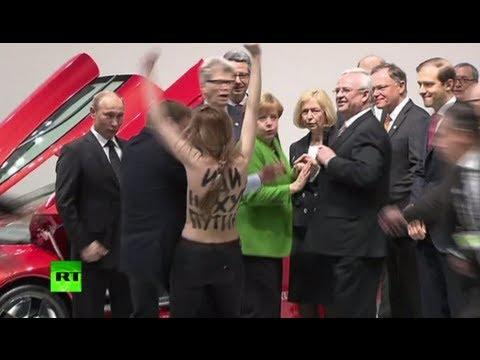 Голые девушки атакуют Путина в Ганновере
