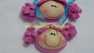 getlinkyoutube.com-caritas miniatura de foamy para decorar accesorios. Manualidades la Hormiga