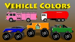 getlinkyoutube.com-Vehicle Colors - Monster Truck, Van, Motorcycle, Fire Engine, Garbage Truck