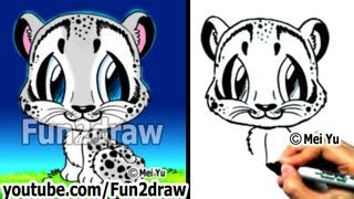 getlinkyoutube.com-How to Draw Animals - How to Draw a Snow Leopard - Learn to Draw - Fun2draw