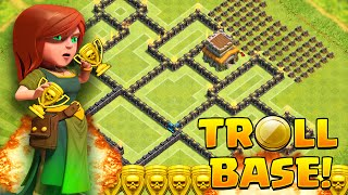 Clash of Clans - Townhall 8 (TH8) TROLL Base!! Easy Defense Wins!