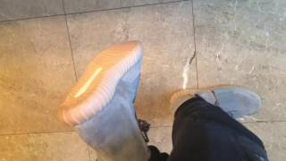 getlinkyoutube.com-Adidas Yeezy Boost 750 Brand New Grey/Gum Sole on feet Review!!