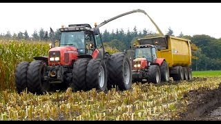 getlinkyoutube.com-Mais hakselen Van Bakel Dairy 2013 - Jaguar 980, MF 8690, MF 7624, MF 7495, USA Equipment