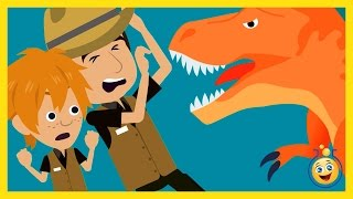 getlinkyoutube.com-GIANT T-REX vs Park Ranger Aaron, LB Animated Cartoon Jurassic Adventure Dinosaur Kid Movies w/ Hulk
