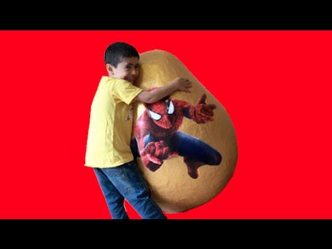 Super Giant Golden Surprise Egg - Spiderman Egg Toys Opening + 3 Kinder Surprise Eggs Unboxing