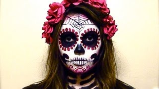 getlinkyoutube.com-BLOOD RED CATRINA SUGAR SKULL Tutorial