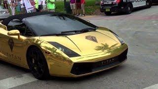 getlinkyoutube.com-Chrome Gold Lamborghini Gallardo Loud acceleration REVS Lamborghini Aventador Nissan GTR  McLaren