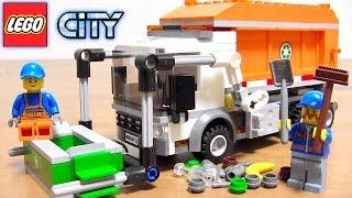getlinkyoutube.com-レゴ レゴシティ はたらくくるま ゴミ収集車 組立 コマ撮り ストップモーション アニメ / LEGO CITY 60118 Garbage truck stop motion kids toy