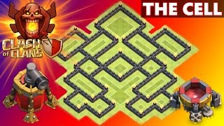 "NEVER SEEN BEFORE! ""THE CELL"" EPIC TOWN HALL 8 (TH8) TROPHY BASE DEFENSE! 2015 