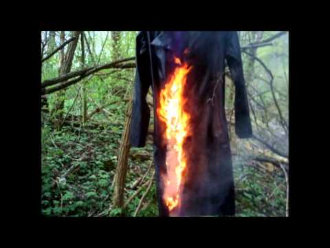 burning, ripping, destroying a vinyl raincoat / PVC Regenman