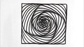 [だれでも描ける!線画アート] リックズパラドックス(四角形編)という立体的な絵の描き方 [ゼンタングル]  How to draw zentangle