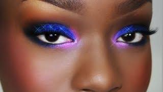 getlinkyoutube.com-Purple Pink Blue Glitter SMOKY eyes | Easy Voice Over tutorial
