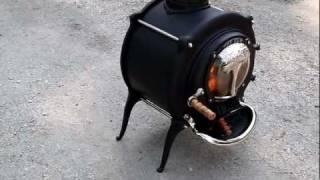 getlinkyoutube.com-The First British Elm wood stove, July 2011