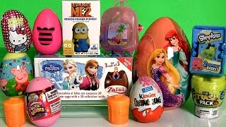 getlinkyoutube.com-Giant Disney Princess Surprise Eggs Boxes Peppa MonsterHigh Frozen Princess Shopkins Surprise Basket
