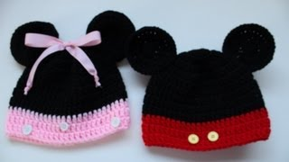 getlinkyoutube.com-Easy to Crochet Mickey and Minnie Disney Inspired beanies - Yolanda Soto Lopez