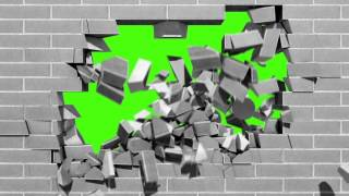 getlinkyoutube.com-Green Screen Intro Brick Wall Explosion - Footage PixelBoom CG