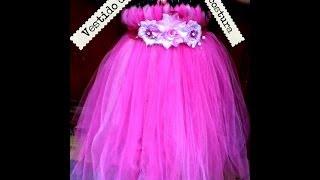 getlinkyoutube.com-Vestido de Tul sin costura listón,flores fácil tutu how to make tutu dress