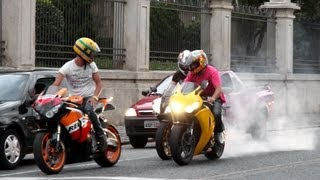 getlinkyoutube.com-Honda CBR 1000RR Burnout, S1000RR & Hayabusa Wheelie, CBR vs. 650F, R1 R6 ZX6R Hornet - Lound Sounds