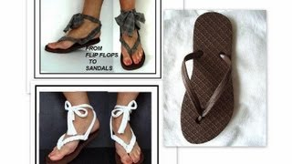TURN  flip flops into grecian sandals, recycled t-shirt, street shoes, sandals, cloth sandals