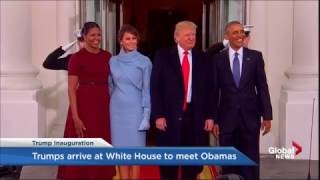 Barack and Michelle Obama welcome the Trumps to the White House