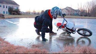 getlinkyoutube.com-PIT BIKE ICE RIDING FAIL!!!
