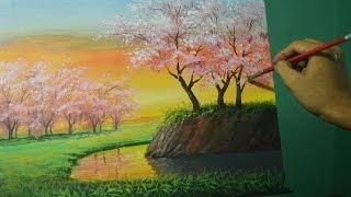 getlinkyoutube.com-Acrylic Landscape Painting Lesson - Cherry Blossoms on Sunset by JMLisondra