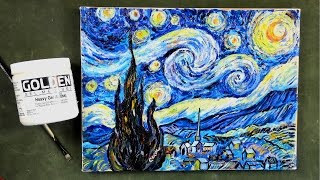 Step by Step Van Gogh's Starry Night using  Impasto Acrylic Mediums Tutorial