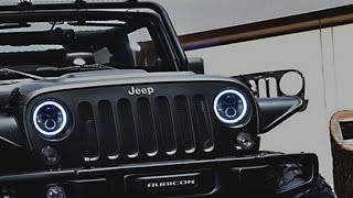 getlinkyoutube.com-iJDMTOY Jeep Wrangler LED Headlights with Switchback Halo Rings