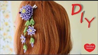 getlinkyoutube.com-Заколка Сидаре Канзаши / How to Make: Hairpin Cedar kanzashi