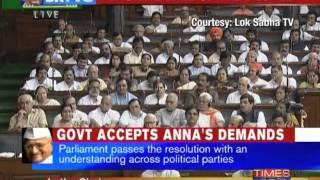Parliament speaks for Anna