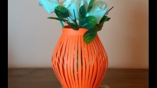 getlinkyoutube.com-DIY paper vase . How to make a paper vase easily .