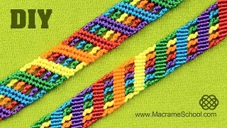 getlinkyoutube.com-Colorful Rainbow Bracelet Tutorial |  Macrame School