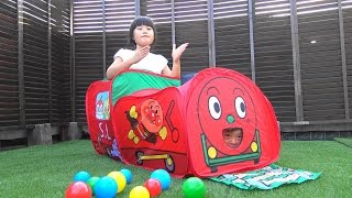 getlinkyoutube.com-アンパンマン おもちゃ とっても大きなSLマン おうち Anpanman  Train Tent House Toy