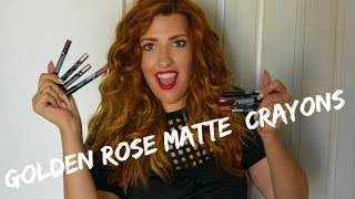 getlinkyoutube.com-NEW Golden Rose Matte CRAYONS - Lip Swatches ● Marilliaschoice1989