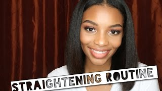 getlinkyoutube.com-UPDATED Straightening Routine + How to Flat Iron & Blow Dry Naturally Curly/Thick Hair | Flawhs