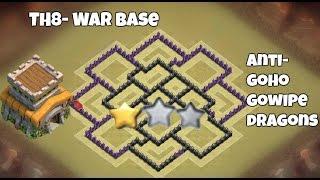 Clash of Clans - TH8 War Base - Base de guerra Ayuntamiento 8 - Anti Goho Gowipe Dragons
