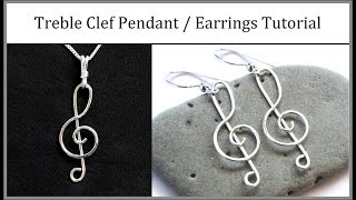 getlinkyoutube.com-Easy Jewelry Tutorial : Wire Wrapped Treble Clef Pendant or Earrings