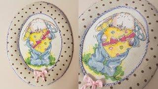 getlinkyoutube.com-DIY: Как оформить вышивку своими руками: овальная рамка из ткани
