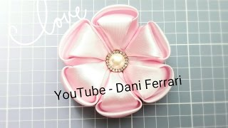 getlinkyoutube.com-COMO FAZER FLOR DE CETIM - HOW TO DO A RIBBON FLOWER - DIY -PASSO A PASSO - PAP - Dani Ferrari