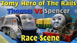 getlinkyoutube.com-Tomy Hero of The Rails: Thomas vs Spencer Race Scene