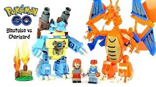Pokemon Ash Ketchum & Serena Blastoise vs Charizard Mecha Firedragon vs Water Unofficial LEGO Set