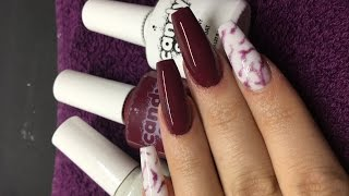 getlinkyoutube.com-Acrylic Nails | Burgundy and Gel marbling | Candy Coat
