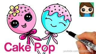 How to Draw Cake Pop Easy - Cute Cartoon Food
