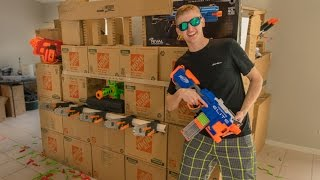 getlinkyoutube.com-TACTICAL NERF FORTRESS | CARDBOARD CASTLE!