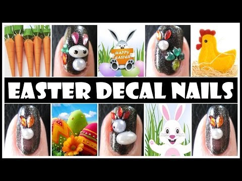 EASTER NAIL ART DESIGNS | DECAL BUNNY RABBIT CHICKEN EGG EASY TUTORIAL FOR BEGINNERS
